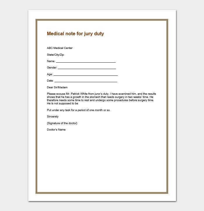 Sample Letter To Be Excused From Jury Duty from www.samplenotes.net