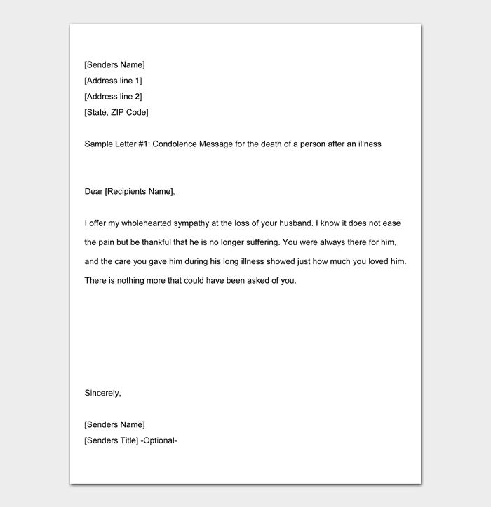 Condolence And Sympathy Letter Note Format Examples