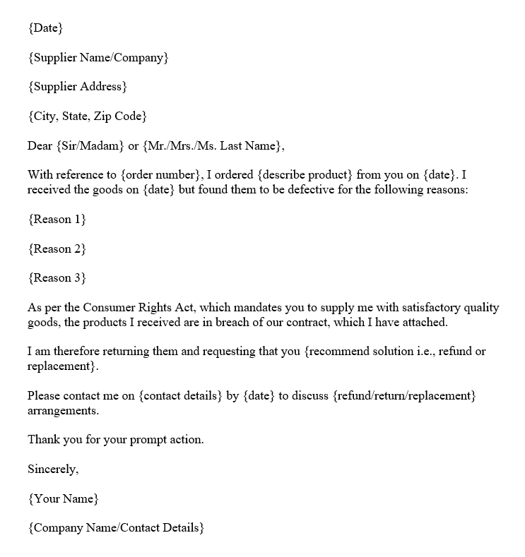 Goods Return Letter (Word Template)