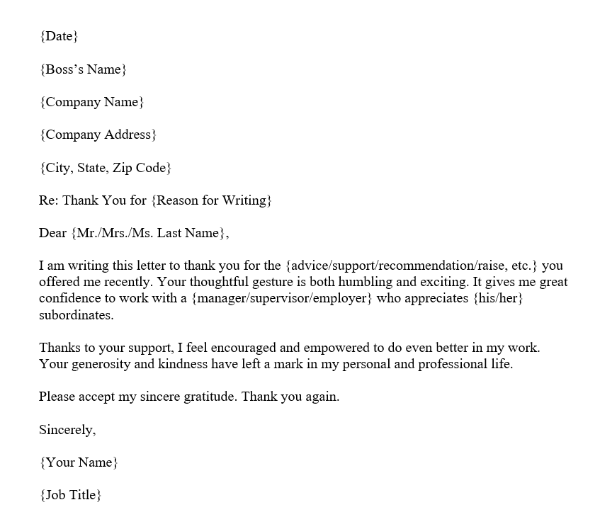 Thank You Letter to Boss (Word Template)