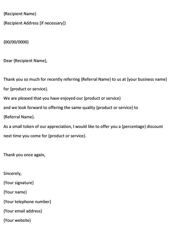 Business Referral Thank-You Note