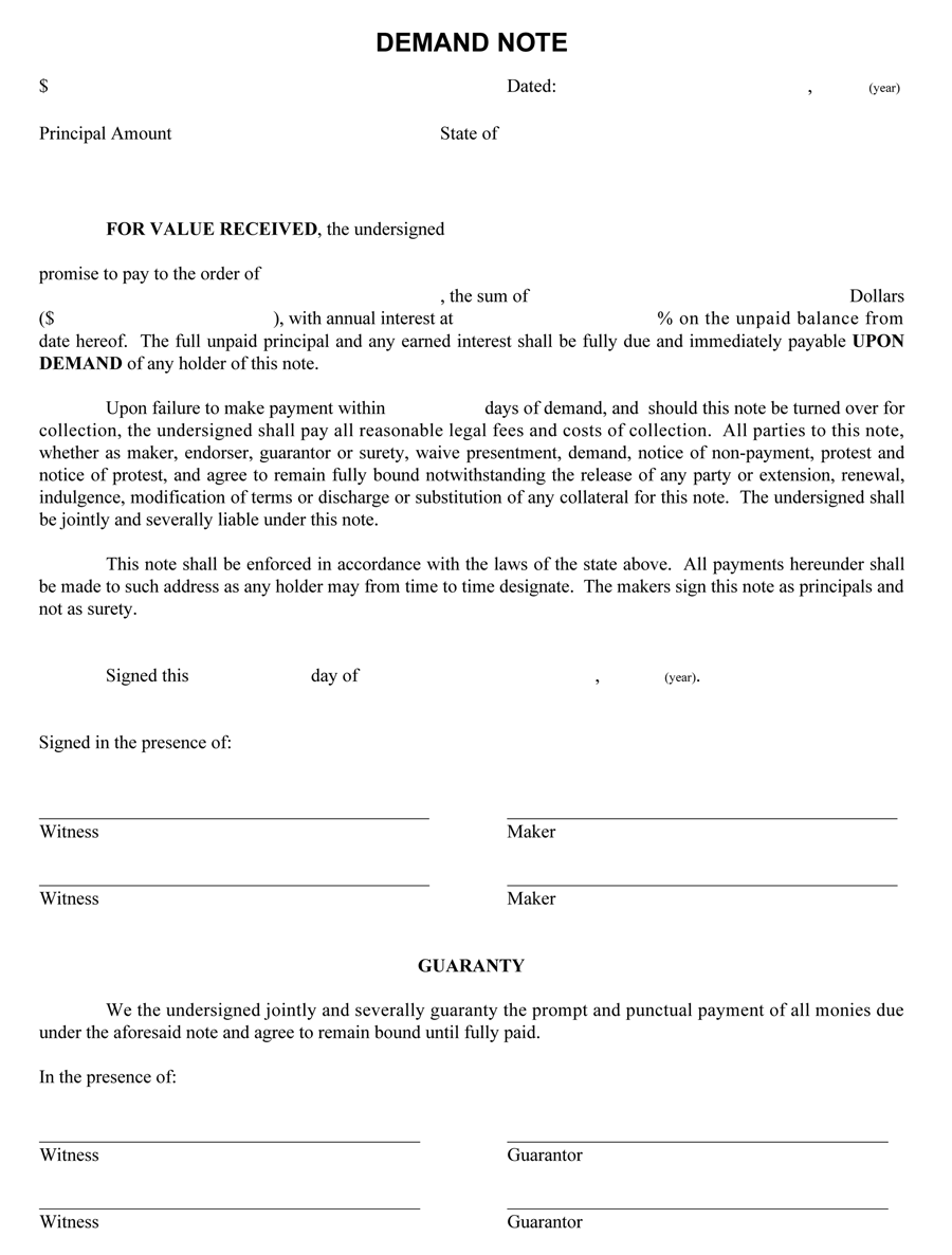 Demand Note Template (PDF Form)